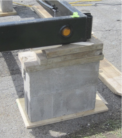 Used Wood Pieces with Cinder Blocks